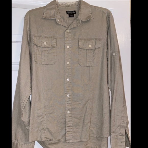 MICHAEL KORS Michael Kors Men's Khaki Button Down